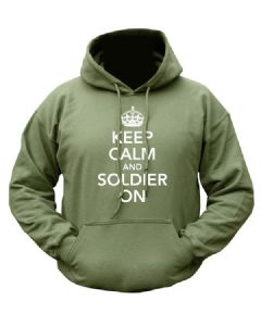 Keep Calm and Soldier On Military Hoody Green Hooded Fleece Jumper